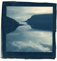 two points, darker (lawatt) Tags: naustvik reflection landscape fjord water árneshreppur westfjords iceland altprocess cyanotype traditional revereplatinum