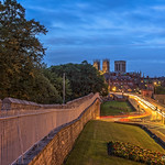 Night view of York Minster from the city walls. thumbnail