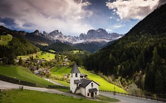 San Cipriano (Kevin.Grace) Tags: italy dolomites dolomiti san cipriano mountains landscape church clouds