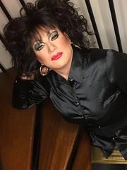 Back in black (Sissy kaylah) Tags: trans transvestite tranny trap cd crossdresser crossdressing crossdress tgurl tgirl black blackhair satin blouse shinyblouse gold miniskirt heavymakeup
