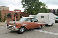 Let's Go Camping (Flint Foto Factory) Tags: flint michigan urban city summer august 2018 home town hometown annual backtothebricks car festival 1957 chevrolet chevy belair 4door hardtop sedan courtst ssaginawst saginawst intersection patina rust camper reality camping trifive