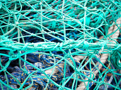 Knots and spaces 2 (S's images) Tags: south devon brixham quay boats ropes knots green blue absrtact