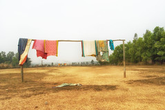 A waft of wind_01 (Doctorbabaguy_1) Tags: village india bengal color clothes wind