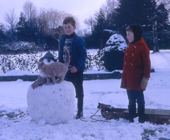 Snow Cat (theirhistory) Tags: boy children kid hat coat trousers wellies wellingtons sled snow snowman cat scarfts