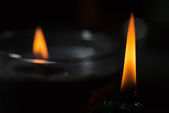 Two Candles (gleavesm) Tags: candle candlelight flame macro