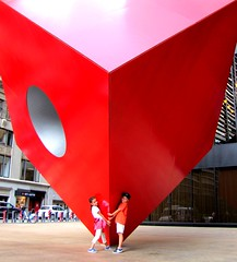 Childrens and Red Cube (alias Mash) Tags: ny newyork childrens redcube 123broadway publicart isamunoguchi