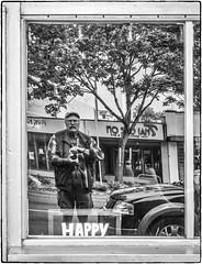 Happy Self (NoJuan) Tags: silverefexpro blackwhite blackandwhite bw digitalbw selfportrait reflectedself self olympuspenf 1232mmpanasonic panasonic1232mm microfourthirds micro43 m43 mirrorless window