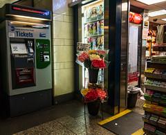 Fresh Cut Flowers (UrbanphotoZ) Tags: freshcutflowers pennstation longislandrailroad lirr ticket vending machine magazines displaycase flowerstands cocacola gum newsstand garbagecan cooler westside midtown manhattan newyorkcity newyork nyc ny