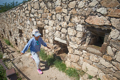 2018 Beijing - 司马台长城 (Si Ma Tai Great Wall) 077 (ArdieBeaPhotography) Tags: tall rugged mountains sky clouds high summer wall great simatai 司马台 长城 tourists walking arrow embrasures ports fast cap blue shirt jeans pink sneakers trainers shoes child girl preteen middleschool age young path alongside