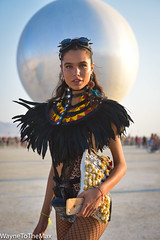 A Sphere of Feathers (WayneToTheMax) Tags: burning man 2018 feathers beauty glamour fashionyoke sphere balloon blimp globe costume attire dress desert goggles nikon d750