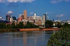 Kentucky view of Cincinnati (durand clark) Tags: ohioriver ludlowkentucky hatfieldcoal cincinnati ohio bigandy rivertradingcompany centralbusinessdistrict kentucky river barge coalsilo clouds paulbrownstadium nikond750