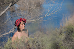 Meditation (Rushay) Tags: background beautiful nature southafrica standing watching water woman worcester