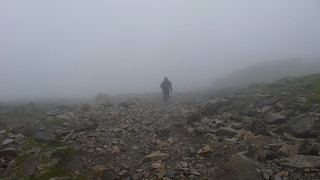 Low Cloud approaching the Summit of Scafell Pike