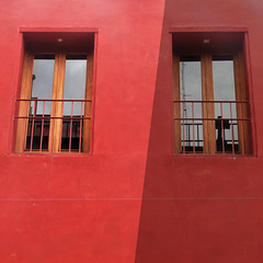 split personality (msdonnalee) Tags: window ventana janela fenster finestra windowreflection red redwall shadow digitalenhancement rot rosso rouge rojo o mexico mexique