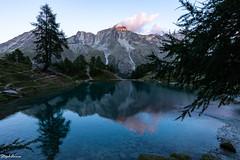 Sunset at blue lake (StephAnna :-)) Tags: arolla blausee dentdeperroc lagouille lac lacbleu lake see bluelake evolène valais schweiz ch