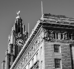 Liver and Cunard Buildings, Liverpool Pierhead 2010 (bobbex) Tags: liverpool liverpoolarchitecture merseyside northwestengland bw blackandwhite blackwhite monochrome unescoworldheritagesite liverbirds