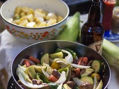 Summer vegetable grilling (cizauskas) Tags: vegetarian vegan grilling beercuisine summer veganmofo18 potato salad vegetable veganmofo stout corn zucchini pickoftheweek
