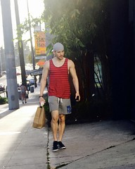 IMG_5242 (danimaniacs) Tags: man guy sexy hot mansolo beard scruff tanktop hat cap shorts westhollywood
