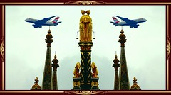 British Airlines, with monument (> Pinoy) Tags: greatbritain britain royalparks hydepark jets airliner airliners jetliner jetliners britishairways travel traveler travels sonyfdrax53camera royal albert memorialunited kingdomuniquephoto shop art arts monuments gold aircraft manipulations imageeffects sony sonycameras tower sky building buildings parks london royalalbertmemorial captures plane planes passangerplanes architecture thecross symbols