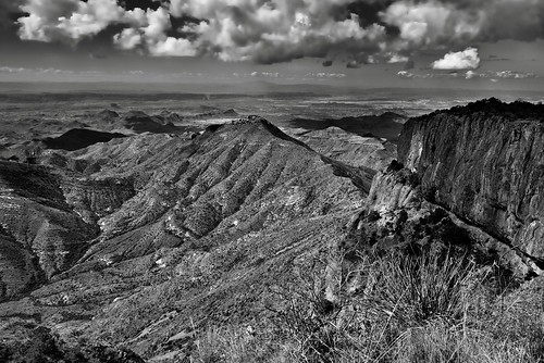 Santa Elena Canyon and the Sierra Ponce Cliffs...and a Whole Lot of Beautiful Mountain Peaks (Black & White, Big Bend National Park)