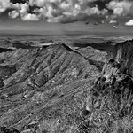 Santa Elena Canyon and the Sierra Ponce Cliffs...and a Whole Lot of Beautiful Mountain Peaks (Black & White, Big Bend National Park) thumbnail