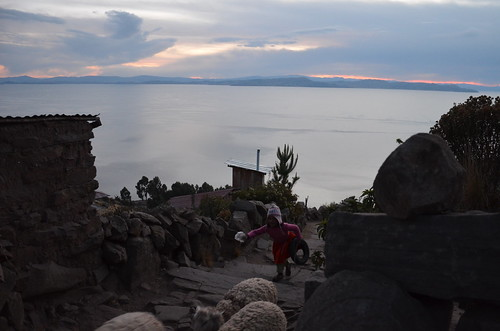 In a rush, Taquile, Lake Titicaca