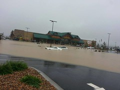 Another round of heavy rain on Sunday, September 15, 2013 brought more flooding due to the saturated ground. The parking lot in the new Cabela's store in Thornton, CO was flooded forcing the store to close. (Camping In Colorado via Facebook)