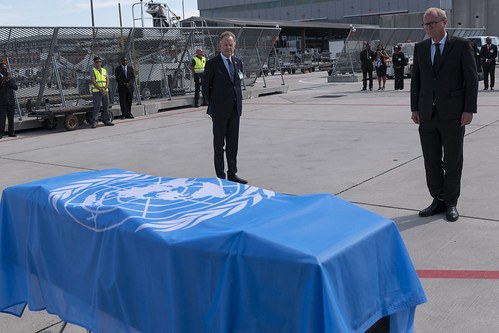 The casket of Kofi Atta Annan, the seventh Secretary-General of the United Nations, as it leaves Geneva for the state funeral in Ghana