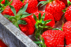 Strawberries 3 (Peter Szasz) Tags: food strawberry fresh fruit crate wooden red summer eat macro healthy texture nature seeds up close