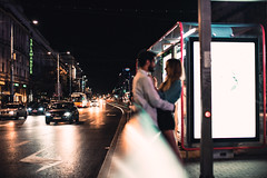 lovers (ewitsoe) Tags: canoneos6dii cityscape polska street erikwitsoe night poland summer urban warsaw evening lovers couple fun fridaynights summereve warm outside waitingforthetram train transit pedestrian