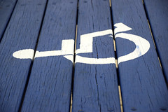 Accessible Picnic Table (MTSOfan) Tags: picnictable table blue handicapped wheelchair symbol accessible accessibility mobility