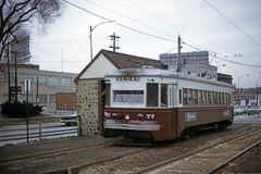 US PA Philadelphia SEPTA-PSTC Red Arrow 77 3-1973 (David Pirmann) Tags: pa pennsylvania philadelphia septa redarrow pstc philadelphiasuburbantransco interurban train trolley tram transit railroad