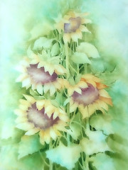 sunflowers (Ani Carrington) Tags: sunflowers green watercolor watercolour painting art flowers