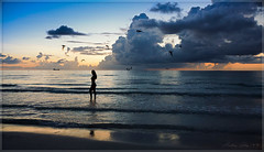With the early colors of twilight. (Aglez the city guy ☺) Tags: seashore seascape earlyinthemorning waterways woman womensmodels urbanexploration beachscape beachshore beautifulpeople colors clouds outdoors walkingaround walking exploration waves