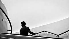 Man on a staircase. (James- Burke) Tags: silhouette staircase man merseyside handrail candid liverpool museumofliverpool