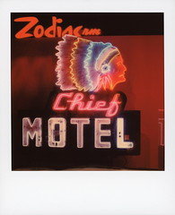 Chief Motel Neon 1 (tobysx70) Tags: polaroid originals color 600 instant film slr680 chief motel theresmoretoneonsignsthanliquormotelsandlivenudegirls museum of neon art mona brand blvd boulevard glendale california ca sign lit illuminated indian native american headdress long beach zodiac room olympian motor hotel downtown los angeles la dtla toby hancock photography
