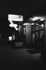 (AmSteinsgraben) Tags: nikon f5 afs nikkor 35mm f18g ilford delta 3200 barber shop street night elsmere de kirkwood highway