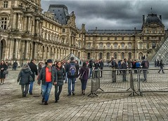 Louvre  - Paris - France  ~   I.M. Pei's glass pyramid in 1989 ~ Courtyard (Onasill ~ Bill Badzo - 54M View - Thank You) Tags: he louvre museum historic monument building architecture pyramid glass triangle chinese american i m pei architect courtyard clouds sky city paris france landmark history largest onasill seine river mustsee travel tourist french central pano panorama site europe people the