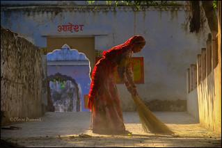 Sweeping.  Pushkar