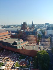 British Library and St. Pancras Station, from Pullman London St. Pancras Hotel, Euston Road, Camden, London (1) (f1jherbert) Tags: lgg6 lgelectronicslgh870 lgelectronics lg g6 lgh870 electronics h870 londonengland londongreatbritain londonunitedkingdom greatbritain unitedkingdom london england gb uk great britain united kingdom