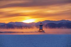 North Light, as the Sun Sets(2) (mbeganyi) Tags: northlight adirondacks ice lakechamplain sunset winter burlington vermont unitedstates us