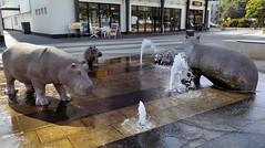 Flusspferd-Brunnen (Gertrud K.) Tags: fountain sculptures berlin lichtenrade rosemariestiller