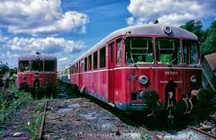 Limburg deadline, August 1986 (rolfstumpf) Tags: germany deutschland deutschebundesbahn db limburg br815 815790 akkutriebwagen schrottplatz scrap junk junkyard