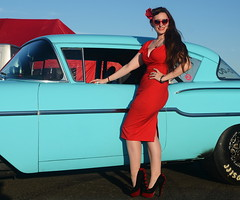 Holly_9231 (Fast an' Bulbous) Tags: classic car automobile chevy people outdoor girl woman hot sexy pinup model long brunette hair red wiggle dress high heels stockings nylons beauty santa pod