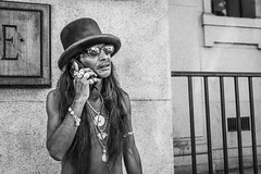 Trevor (johnjackson808) Tags: silver tophat dtes people streetphotography jewellry cellphone hat vancouver monochrome fujifilmxt1 rings downtowneastside mainst chinatown blackandwhite bw downtown