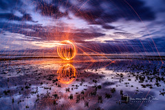 Light up (Ellen van den Doel) Tags: 2018 flakkee uur netherlands sunset hour reflection overflakkee nederland wool slikken evening september light goeree bulb blauw blue clouds instameet ball painting steel zonsondergang water reflectie