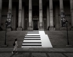 Piano Steps (hanley27) Tags: iphone leeds town hall street black white