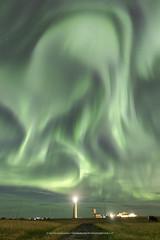 Candle in the solarwind (Kjartan Guðmundur) Tags: iceland ísland auroraborealis northernlights norðurljós nightscape nocturne ngc lighthouse sky outdoor canoneos5dmarkiv sigma14mmf18art kjartanguðmundur