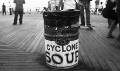 Coney Island (neilsonabeel) Tags: nikonn90s nikon nikkor film analogue blackandwhite coneyisland brooklyn newyorkcity boardwalk trashcan monochrome