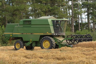 John Deere 2054 Combine Harvester cutting Spring Oats